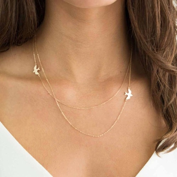dina aziza Jewelry - New Dainty Dove Peace Double Layer Necklace